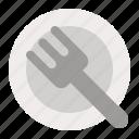 dish, fork, kitchenware, plate, restaurant, utensil icon