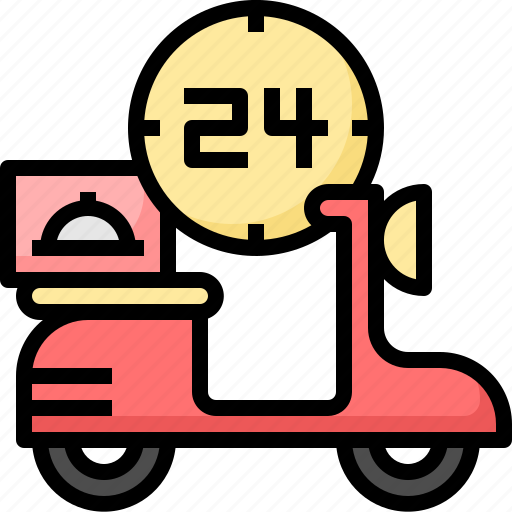 bike, clock, delivery, food, hours, service icon
