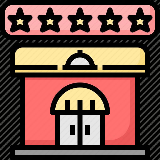 five, food, premium, recommend, restaurant, service, stars icon