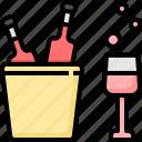 beer, bucket, dinner, drinks, glass, restaurant, wine