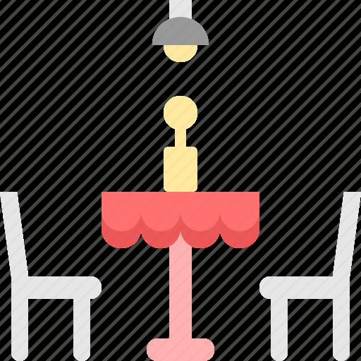 chair, dinner, lamp, restaurant, seat, table, vase icon