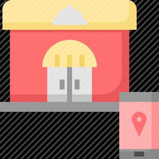 gps, location, mobile, onlien, restaurant, service, shop icon