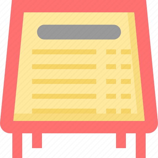 board, label, list, menu, restaurant, shop, sign icon