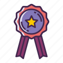 accreditated, award, badge, certified, label, qualified, reward icon
