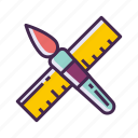 brush, design, designer, ruler icon