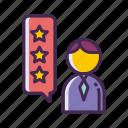 customer satisfaction, rating, review, stars, testimonials, testimony icon