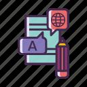 language, translation, writing skill, written, written language icon