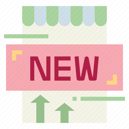 new, poster, shop, sign icon