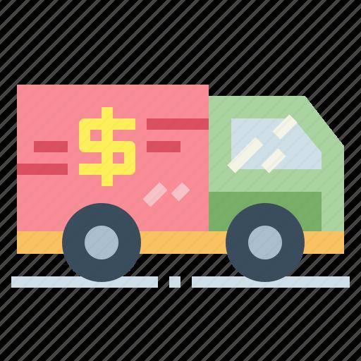 bank, money, transport, truck icon