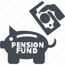 accumulation pension fund, bank, finance, retirement savings, saving icon