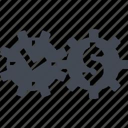 clockwork, coins, finance, retirement savings icon