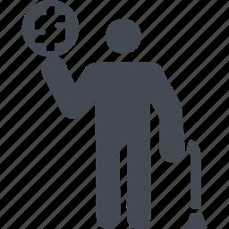 cane, money, old man, retirement savings icon
