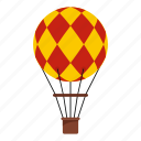 air, balloon, basket, hot, sky, transportation, travel icon