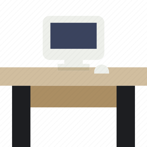 computer, desk, laptop, learn, mouse, retrofurniture, table icon
