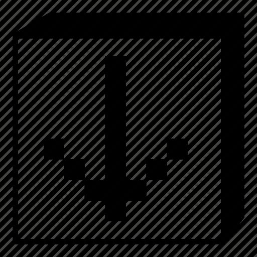 arrow, box, down, interface, minimal, retro, ui icon