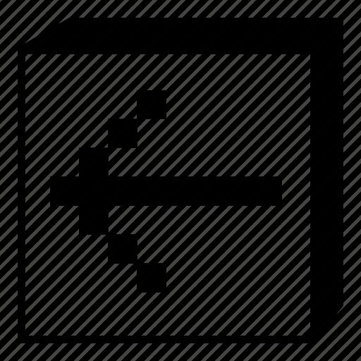 arrow, box, interface, left, minimal, retro, ui icon