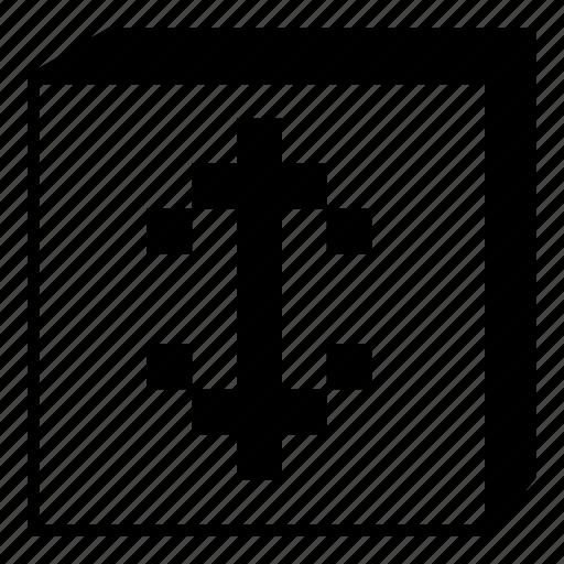 arrow, box, down, interface, minimal, retro, up icon