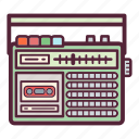 cassette, music, radio, radio cassette recorder, recorder, sound, tape icon