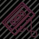 audio, audio tape, cassette, cassette tape, compact cassette, music, tape icon