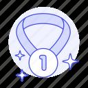 badge, coin, gold, medal, number, one, rewards, sparkle, star, 1