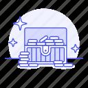 chest, coin, gold, open, rewards, sea, treasure, undersea icon