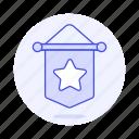 pennant, star, 3, flag, rewards