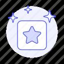 badge, coin, gold, medal, rewards, sparkle, square, star