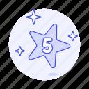 five, gold, number, rating, rewards, star