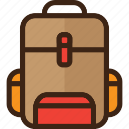 backpacker, bag, forest, holiday, tourism, travel icon