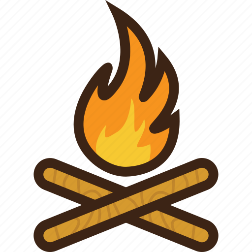 campfire, flame, forest, holiday, tourism, travel, wood icon