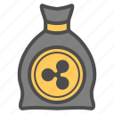 bill, cash, cryptocurrency, money, ripple icon