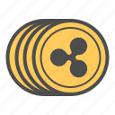 cash, coin, coins, cryptocurrency, money, ripple icon