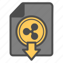cryptocurrency, document, down, download, ripple icon
