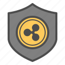 cryptocurrency, guarantee, ripple, safe, secure, security icon