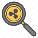 cryptocurrency, magnifier, ripple, search, zoom icon