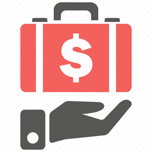 business, cash, dollar, finance, insurance, money, suitcase icon