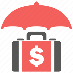 business, currency, finance, financial, insurance, suitcase, umbrella icon