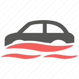 accident, car, flood, hazard, insurance, risk, vehicle icon