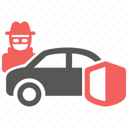 car, insurance, risk, theft, transport, vandalism, vehicle icon