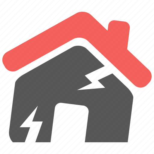 accident, disaster, earthquake, hazard, house, insurance, risk icon
