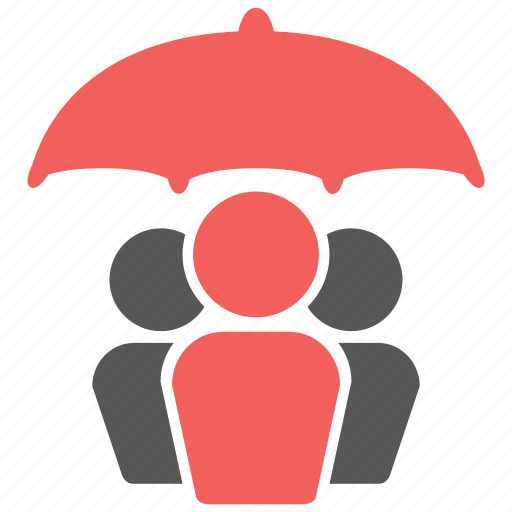 group, insurance, life, people, team, umbrella icon