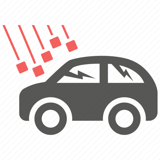 accident, damage, danger, hail, insurance, risk, wrecked car icon