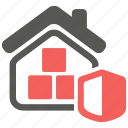 building, contents, home, house, insurance, interior, shield icon