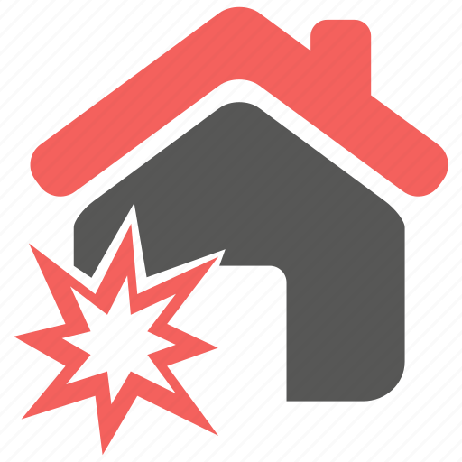 accident, explosion, hazard, home, insurance, property, risk icon