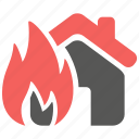 accident, fire, flame, home, insurance, property, risk icon