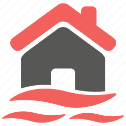 building, flood, hazard, house, insurance, property, risk icon