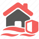 accident, flood, hazard, insurance, property, risk icon