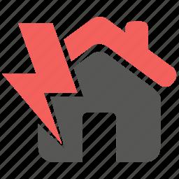 accident, hazard, insurance, light, lightning, power, risk icon