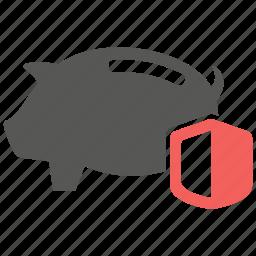 money, pig, protection, safe, savings, shield icon