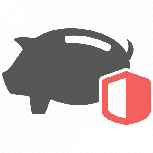 money, pig, protection, safe, savings, shield icon